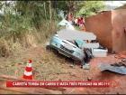 Carreta com granito tomba em carro e mata três pessoas em Espera Feliz
